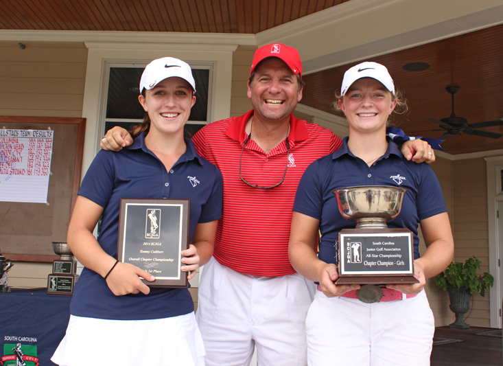 Mt. Pleasant Chapter girls team champions, Kathleen Sumner, chapter director Jeff Buron, Taylor Mayers